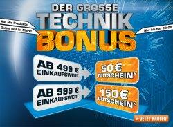 Saturn Technikbonus: 150€ oder 50€ Gutschein für Online- und Offline-Einkauf