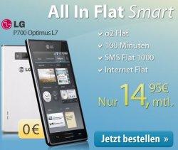 Aktion: Verschiedene All In Flat Smart Tarife mit z.B. LG P700 Optimus für (14,95 €/Monat) oder iPhone5 (34,95 €/Monat + 29€ Zuzahlung) @eteleon