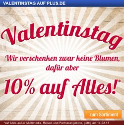 10%  Rabatt zum Valentinstag bei Plus.de