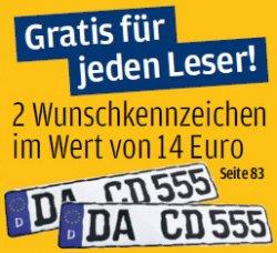 2 Gratis Wunschkennzeichen für jeden AutoBild-Leser (Ausgabe kostet 1,60 EUR)