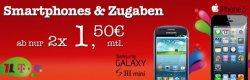 eteleon-Angebot: 2x Duo Talkline Telekom Vertrag monatlich ab 1,50€ für z.B. Samsung Galaxy Ace + kostenloses Handy oder iPhone5 für 2x 10,95€ im Monat (ohne Aufpreis)