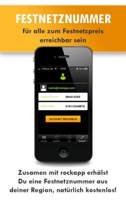 Kostenlose Festnetznummer auf iPhone & Android via rockapp [Gratis laden]