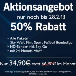 SKY KOMPLETT für 34,90€ mtl. (im 2. Jahr 39,90€ mtl.) inkl. HD & SkyGo + Festplatten-Receiver SKY3490 @mobil-and-fun.de