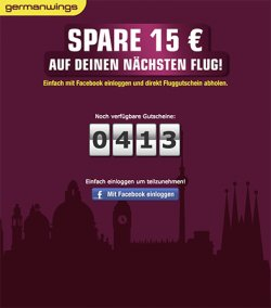 15 € Germanwings Gutschein (mit Facebook-Account) ohne MBW