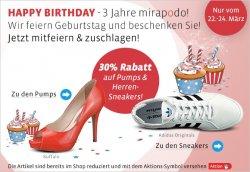 3 Jahre Mirapodo, dazu 30% Geburtstatgrabatt auf Pumps & Herren Sneaker | 22-24 März