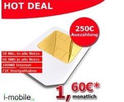 50 Minuten + 50 SMS + 100 MB Internet Flat für effektiv 1,60€ mtl.