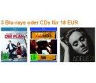 Amazon-Konter: 3 Blu-rays/CDs für 18 € oder 3 Games für 49€
