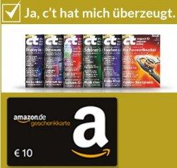 c't Miniabo mit 6 Ausgaben für 5,20€ = 87 Cent statt 3,70€ pro Heft durch 10€ Amazon oder iTunes Gutschein
