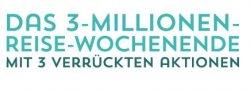 Das 3 Millionen-Reise-Wochenende bei getgoods mit 3 Aktionen: Alle 3 Stunden neue Deals, 5% Rabatt im Shop+50 Euro Reisegutschein