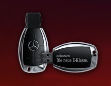 Gratis USB-Stick im Mercedes-Benz Schlüsseldesign durch Anforderung von Infomaterial zur neuen E-Klasse @mercedes-benz.de
