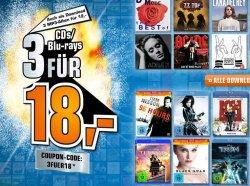 Große Entertainmentaktion bei Saturn: 3 CD´s/Blu-rays für 18 Euro ODER 3 Games für 49 Euro