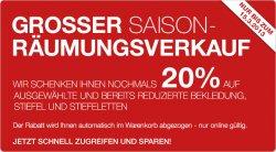 Großer Saison Räumungsverkauf bis zu 80% sparen und 20% geschenkt bekommen +10% Newsletter bei @ Galeria Kaufhof