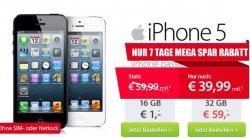 iPhone 5 für 1€,  Vertrag 39,99€ / Monat – AllNet Flat in alle Netze, 3000 SMS, Internet Flat @sparhandy.de