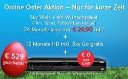 Sky Online Oster Aktion 24,90€ – Sky Welt, 1 Packet, sky Go, Sky HD, HD+, HD Festplattenreceiver
