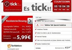 Vodafone Wunschnetz Internet-Flat (300MB) und 3000 SMS für 5,99€/Monat @handytick.de