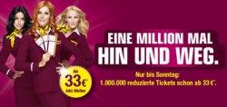 1.000.000 reduzierte Tickets nur bis zum 14.4. schon ab 33€ @Germanwings