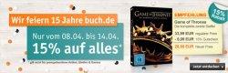 15 Jahre Buch.de – Jede Woche ein Jubiläumsangebot (Diese Woche: 15 % auf Alles)
