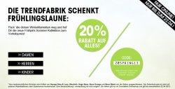 20% dank Gutscheincode auf viele Marken / Artikel wie. z.B. Bench; G-Star; Nike uvm. auch auf Sale Artikel anwendbar @Trendfabrik