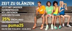25% Rabatt mit Gutscheincode im Puma Online-Shop – nur vom 19.4 – 22.4