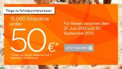 Easyjet | 15 000 Sitzplätze für 50 Euro oder weniger. Reisezeitraum 1. Juni bis 30. September