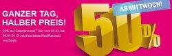 Ganzer Tag – Halber Preis, 50% auf Smartphones – jedoch nur bei Vertragsabschluss @t-mobile.de