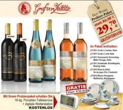 Probierpaket 6 gute Flaschen Wein, 16 tlg. Tafelservice, digitale Wetterstation 29,70€