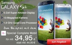 Samsung Galaxy S4 Aktion auf getmobile.de – ab 0€ Zuzahlung und 34,95 € monatlich