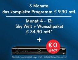 Sky Komplett die ersten 3 Monate nur 9,90€ !, 4-12 Monat 34,90 für ein Wunschpaket inkl. 2TB-HD Festplattenreceiver