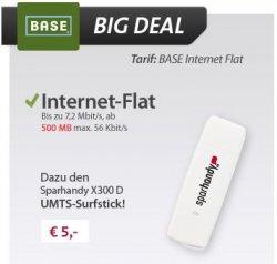 Sparhandy UMTS-Stick X300D mit BASE Internet Flat kostenlos