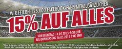 11Teamsports feiert 125.000 Facebook-Fans | Zu diesem Anlass gibt es 15% Rabatt auf Alles
