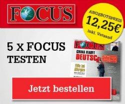 5x Focus + 10€ Amazon Gutschein für rechnerisch 2,25 Euro