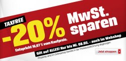 Bei Sports-Experts läfut derzeit die Aktion Taxfree MwSt. Sparen. -20%
