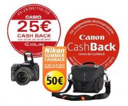 Bis zu 300€ Cashback-Aktionen von Nikon, Canon, Casio und Pentax