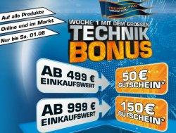 Der Grosse Technik Bonus im Saturn Online-Shop, z.B für 499 € einkaufen und 50 € Gutschein erhalten