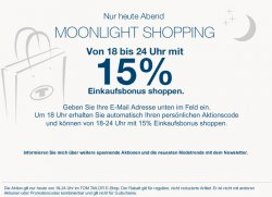 Moonlight Shopping – 15% mit Aktionscode @Tom-Tailor.de – nur heute (Dienstag) von 18-24 Uhr