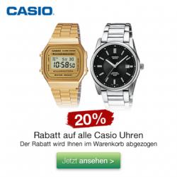 Sonntagsangebot – 20% Rabatt auf Casio Armbanduhren, uvm. @Galeria Kaufhof