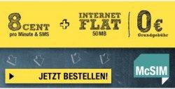 Tarife für Studenten ohne Mindestlaufzeit (z.B. Allnet- + SMS-Flat + 1 GB Internet für 24,95 €/Monat)@McSim
