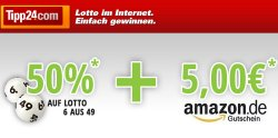 Tipp24.com | 5€ Amazon Gutschein und 50% Rabatt (Gewinn 4,25€)