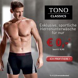 Tono Boxershorts oder Slip kostenlos zum Kennenlernen statt 18,90€
