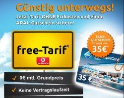 35€ ARAL Gutschein kostenlos bei Abschluss Vodafone Free direkt kündbar @crash-tarife.de