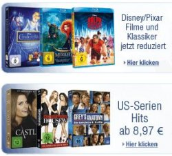 5 Tage Tiefpreise Aktion – Disney/Pixar Filmen, Action & Fantasy auf Blu-ray & DVD, Disney 3D Blu-rays, US-Serien-Hits, Disney Junior, usw. @Amazon