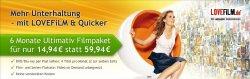 6 Monate Lovefilm für nur 14,94€(2,49€ / Monat) statt 59,94€ @Quicker