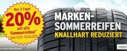 A.T.U: 20% auf alle Sommerreifen + 20€ Montage-Coupon bei Kauf von 4 Continental Sommerreifen!