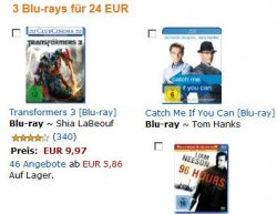 Amazon | 3 Blu-rays für 24€