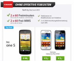 BigDeal: HTC One S für 44€ oder Galaxy Ace Plus für 1€ durch Schubladenvertrag