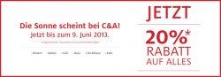 C&A bis zum 09.Juni 20% auf alles im Online Shop.