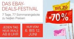 eBay Deals-Festival – 7 Tage 77 Sommerangebote zu heißen Preisen – Start: Donnerstag 8 Uhr
