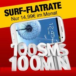 @ebay Samsung Galaxy S3 mit InternetFlat + 100SMS + 100MIN für 14,99EUR (zzgl.29EUR einmaliger Kaufpreis)