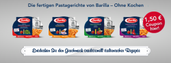 Gutschein downloaden und  1,50€ beim Kauf  einer Packung Barilla Pastagerichte im Supermarkt sparen