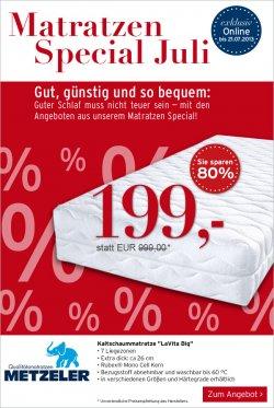 Karstadt Matratzen Special – Metzeler LaVita Big versch. Größen und Härtegrade 80% reduziert – mit Gutschein nur 188,95€ statt 999€